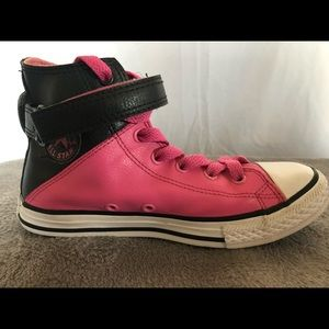 Pink and Black Leather Converse All-Star high-tops